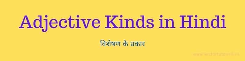 Adjective Kinds in Hindi